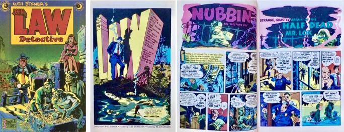 Omslag, förstasida och ett uppslag ur John Law Detective (1983). ©Eclipse/Eisner