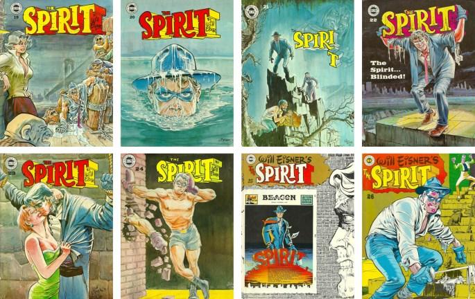 Omslag till Spirit Magazine #19-26 (1978-80). ©Kitchen Sink/Eisner