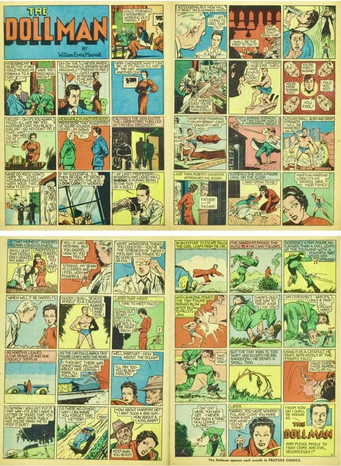 Introduktionen av Doll Man ur Feature Comics #27 (1939). ©Quality