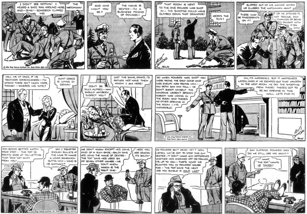 De tre följande dagsstripparna från 1-3 februari 1934. ©KFS