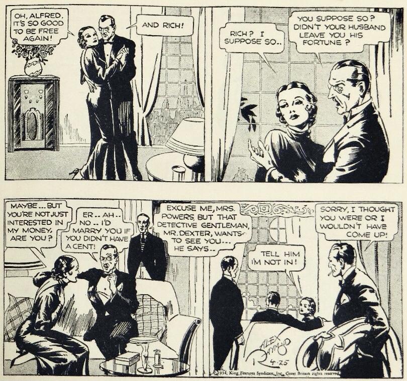 En dagsstripp med detektiven Mr. Dexter från 25 april 1934. ©KFS