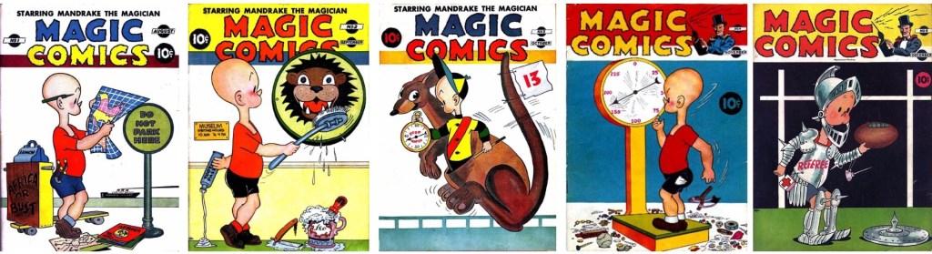 Omslag till de första fem numren av Magic Comics (1939). ©McKay