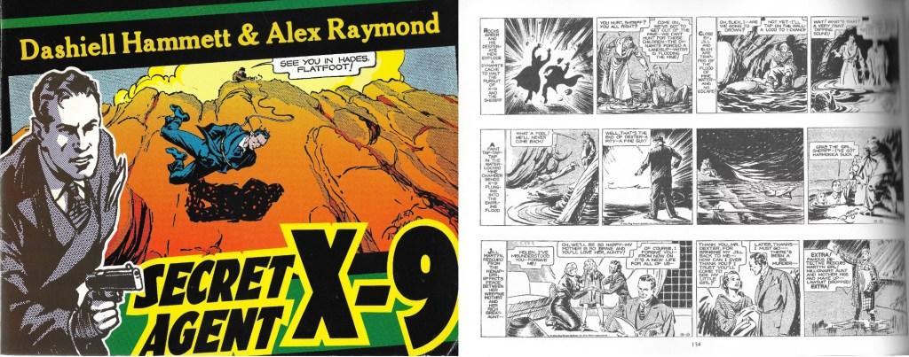 Omslag och en sida ur inlagan till Secret Agent X-9 (1990). ©Kitchen Sink
