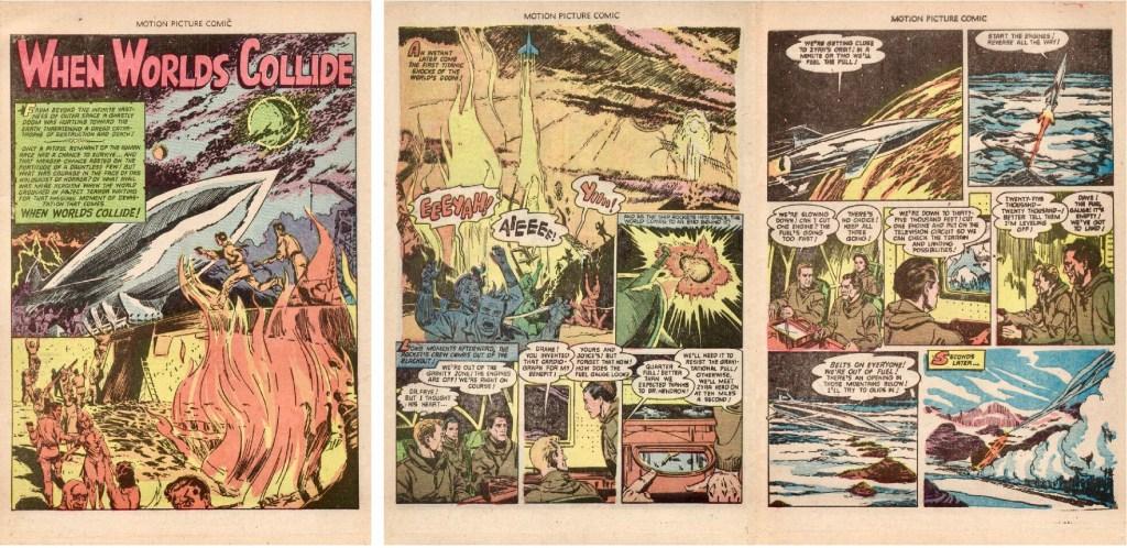 Inledande sida och ett uppslag från When Worlds Collide ur Motion Picture Comics #110 (1952). ©Fawcett