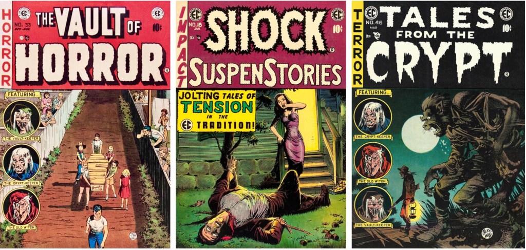 Omslag (två av Jack Davis, det i mitten av Evans) till tidningar med serier av Evans. ©EC