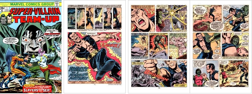 Omslag, och inledande sidor med en serie av Tony Isabella (manus), George Evans (skiss) och Frank Spinger (tusch), ur Super-Villain Team-Up (1975). ©Marvel