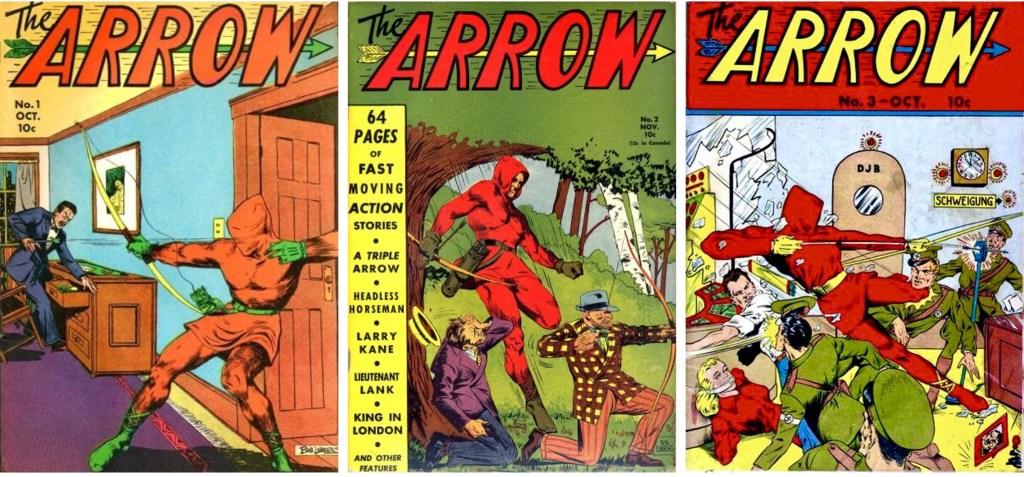 Omslag till The Arrow #1-3, de två första av Lubbers (1940-41). ©Centaur