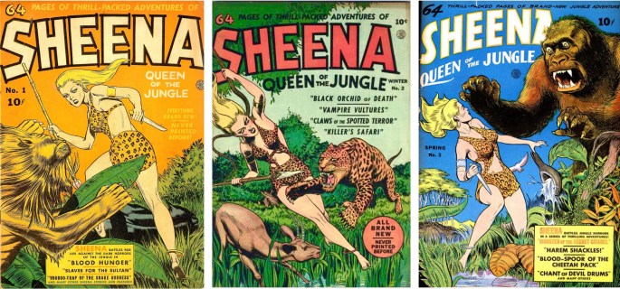 Omslag till Sheena, Queen of the Jungle #1~3 (1942-43). ©Fiction House