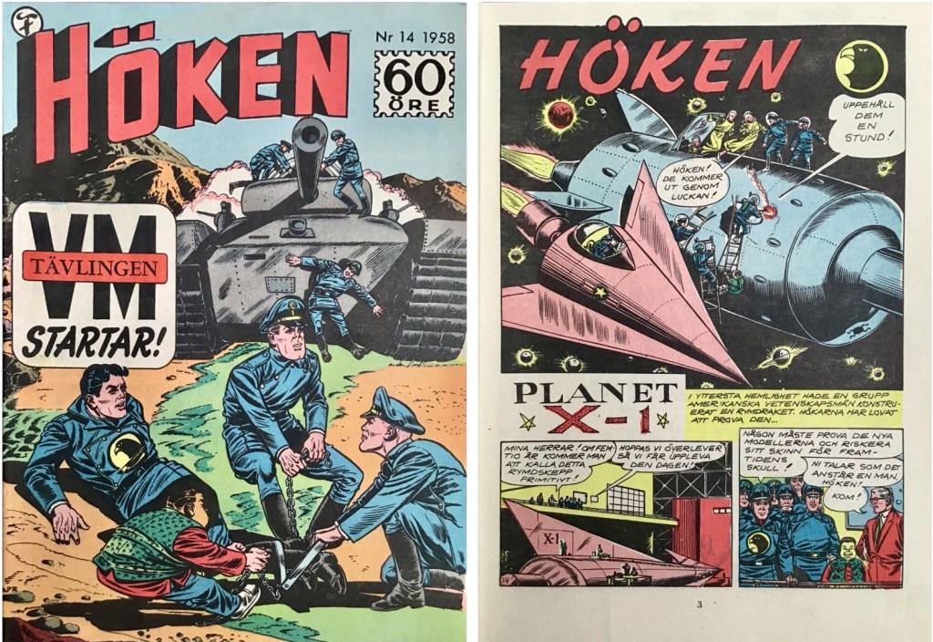 Omslag till Höken nr 14, 1958 och inledande sida ur Höken-serien. ©Formatic/EuropaPress