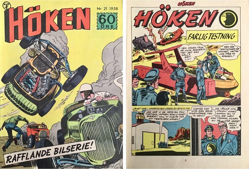 Omslag till Höken nr 21, 1958 och inledande sida ur Höken-serien. ©Formatic/EuropaPress