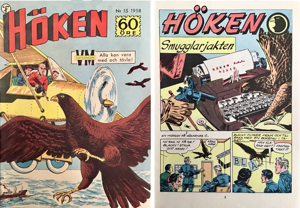 Omslag till Höken nr 15, 1958 och inledande sida ur Höken-serien. ©Formatic/EuropaPress