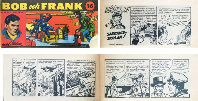 Omslag till Bob och Frank nr 16, 1954, och inledning till Höken-episoden Sabotage-skolan. ©Serieförlaget/Europa-Press