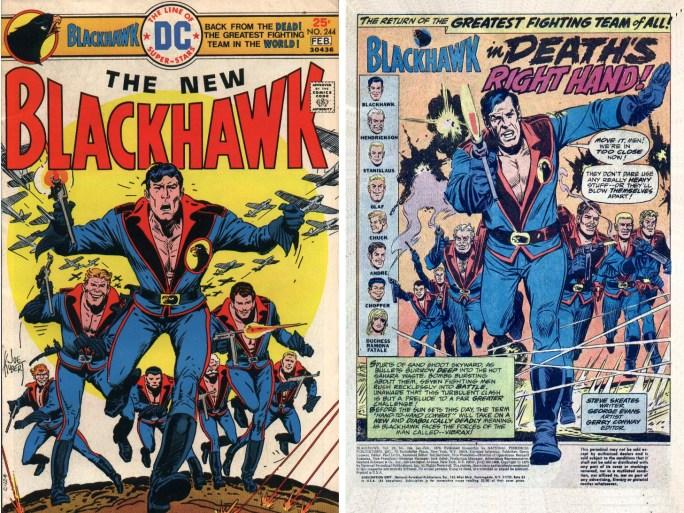 Omslag och inledande sida ur Blackhawk #244 (1976), av Steve Skeates (manus) och George Evans (teckningar). Omslag av Joe Kubert. ©DC/National