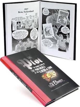Omslag och ett uppslag ur The Plot: The Secret Story of the Protocols of the Elders of Zion (2005). ©Norton/Eisner