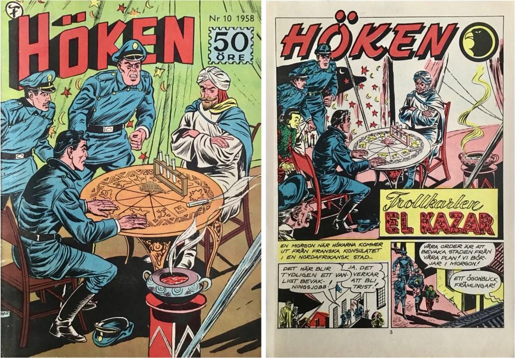 Omslag till Höken nr 10, 1958 och inledande sida ur Höken-serien. ©Formatic/EuropaPress