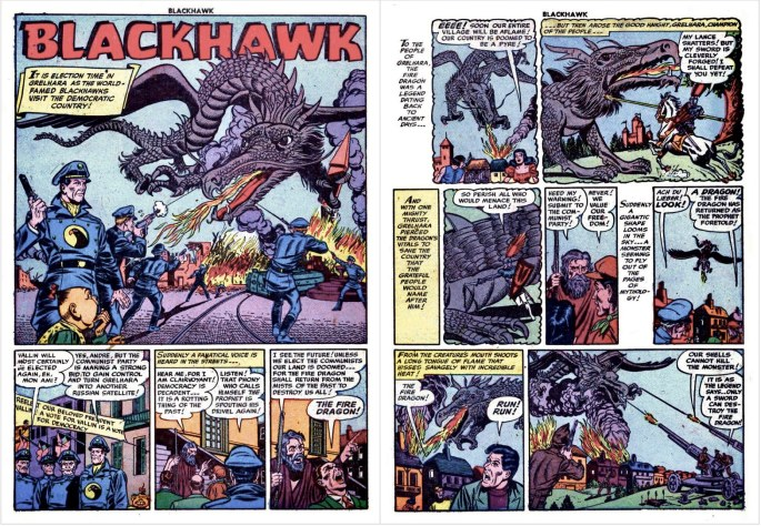 Motsvarande inledning i original med episoden The Fire Dragon of Grelhara, möjligen tecknad av Bill Ward, ur Blackhawk #56 (1952). ©Quality/Comic Magazines