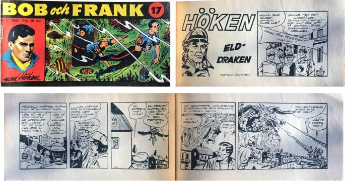 Omslag till Bob och Frank nr 17, 1954, och inledande sidor ur episoden Elddraken med Höken. ©Serieförlaget/EuropaPress