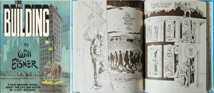 Omslag och ett uppslag ur The Building (1987). ©Kitchen Sink/Eisner