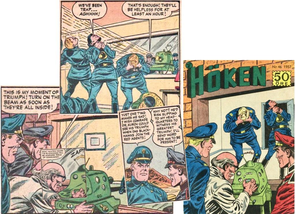 Omslaget till Höken nr 46/57 baserar sig på ett collage av olika serierutor från åttonde och nionde sidan i episoden. ©Formatic/Quality/Comic Favorites