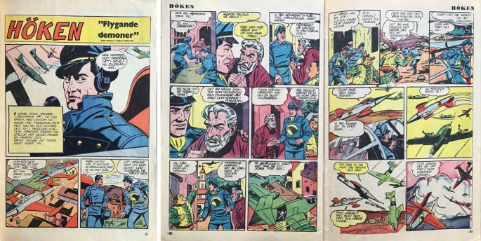 Inledande sidorutan episoden Flygande demoner, ur Tarzan nr 16, 1952. ©Serie-service