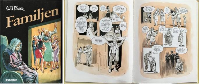 Omslag och ett uppslag ur Familjen (1988). ©Alvglans/Eisner