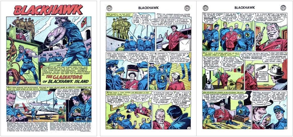 Inledande sidor ur episoden The Gladiators of Blackhawk Island från Blackhawk #114 (1957). ©DC/National