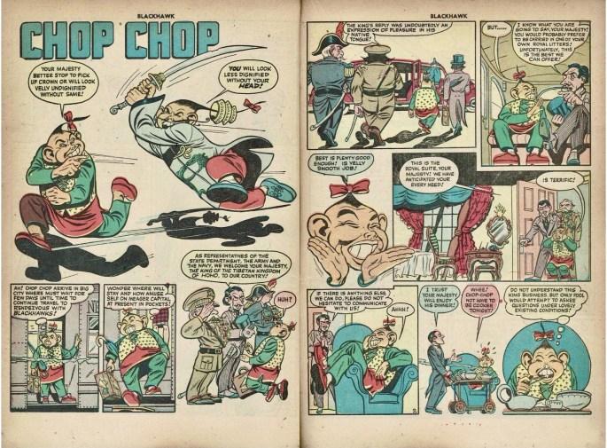 Inledande uppslag med Chop Chop ur Blackhawk #13 (1946). ©Quality/Comic Magazines