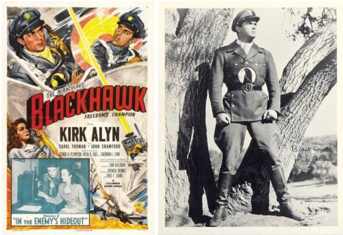 Filmaffisch för episoden The Miracolous Blackhawk, Freedoms Champion: In the Enemy's Hideout (1952) med Kirk Alyn i titelrollen.