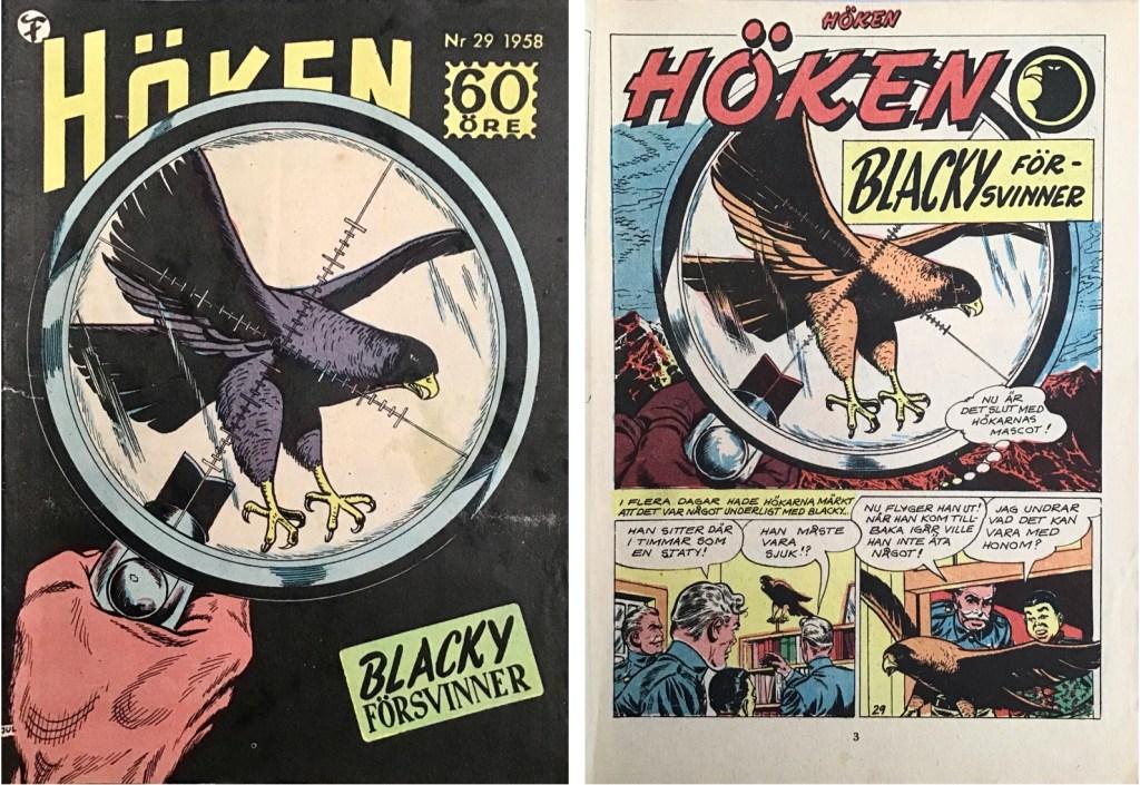 Omslag till Höken nr 29, 1958 och inledande sida ur Höken-serien. ©Formatic/EuropaPress