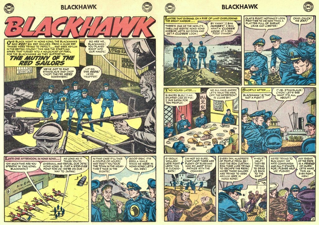 Inledande uppslag ur episoden Blackhawk The Mutiny of the Red Sailors från Blackhawk #108 (1957). ©DC/National