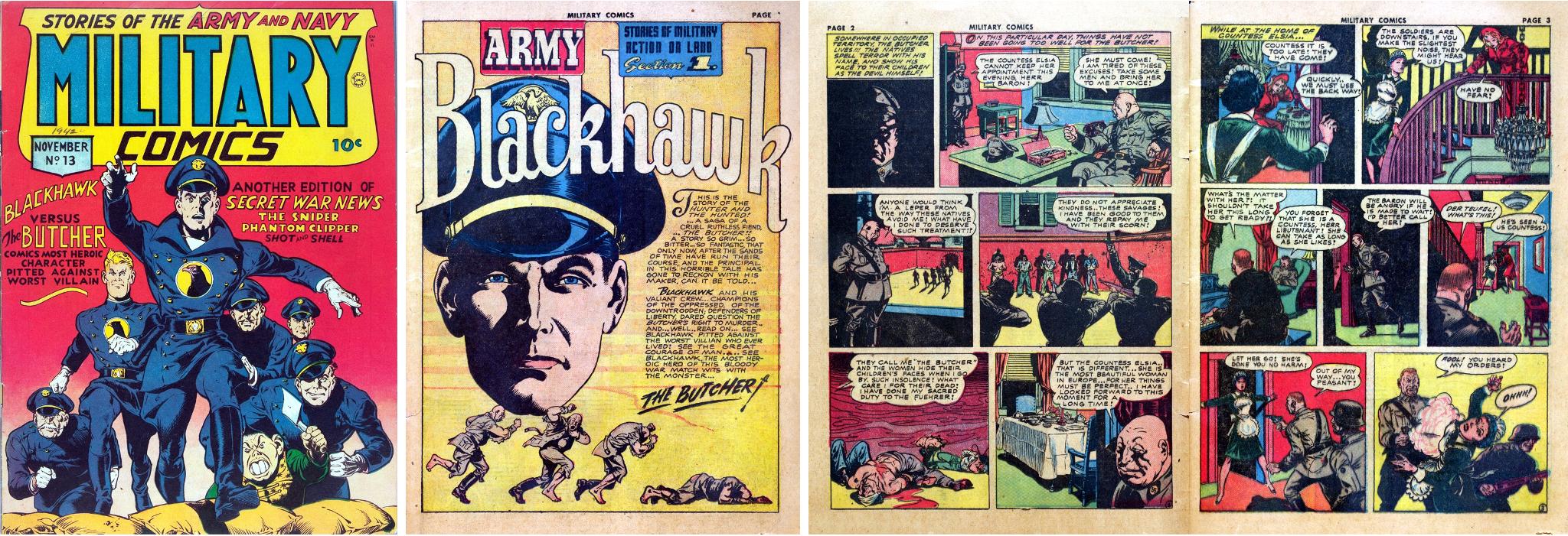 Omslag till Military Comics #13, och inledande sidor av en episod med Blackhawk. ©Quality/Comic Magazines