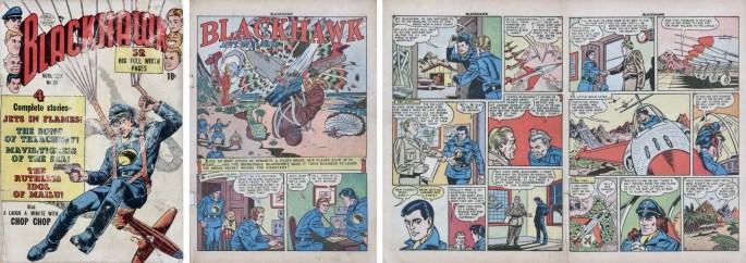 Omslag och motsvarande inledning ur Blackhawk #34 (1950). ©Quality/Comic Magazines