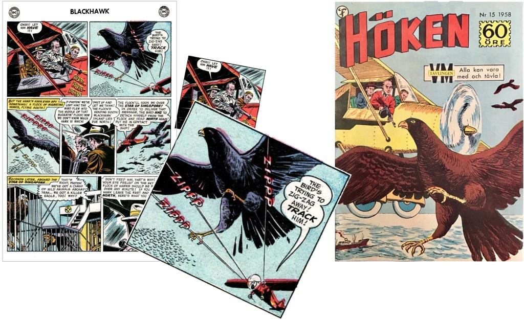 Omslaget till Höken nr 15/58 baserar sig på ett par serierutor från fjärde sidan i episoden. ©Formatic/DC/National