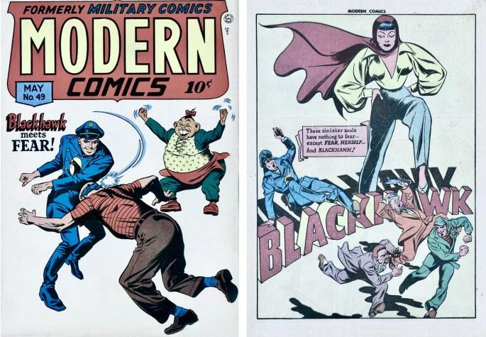 Omslag till Modern Comics #49 (1946) och inledande sida ur Blackhawk. ©Quality/Comic Magazines