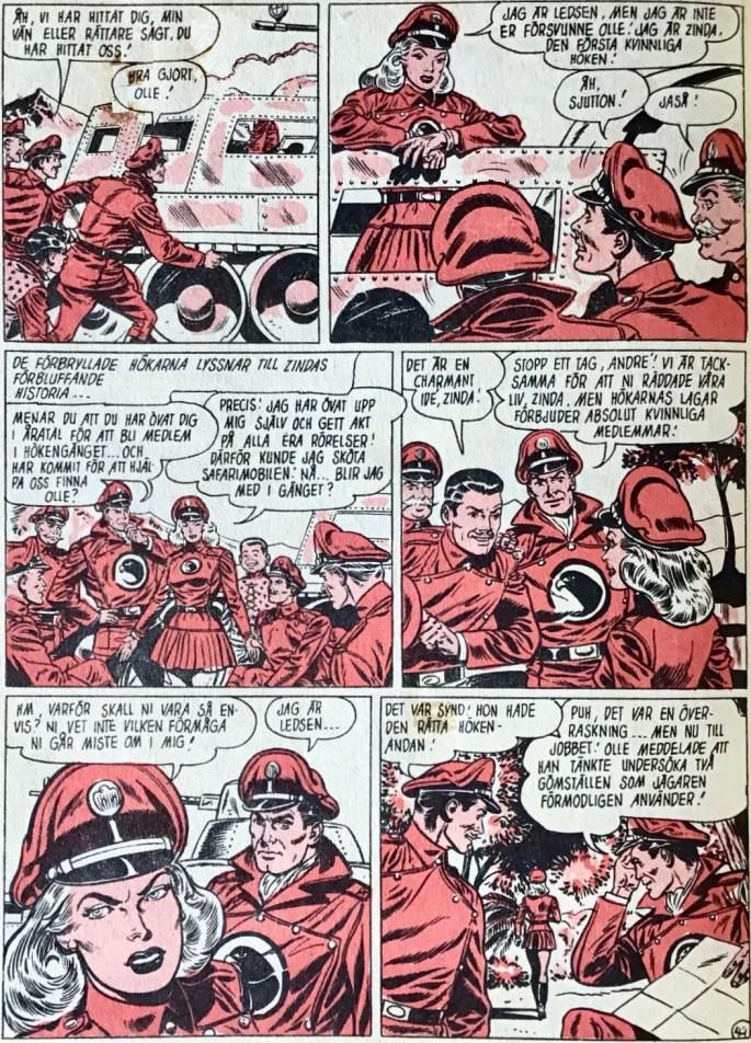 En sida ur episoden Den kvinnliga höken (The Lady Blackhawk) från SerieNytt nr 44, 1959. ©Formatic/EuropaPress