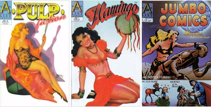 Omslag till Pulp Fiction #2 (1997), Flamingo #1 (1998) och Jumbo Comics #1 (1999). ©A List Comics