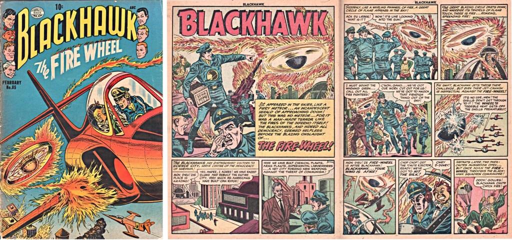 Omslag till Blackhawk #85 och inledande uppslag ur episoden The Fire-Wheel. ©Quality/Comic Favorites