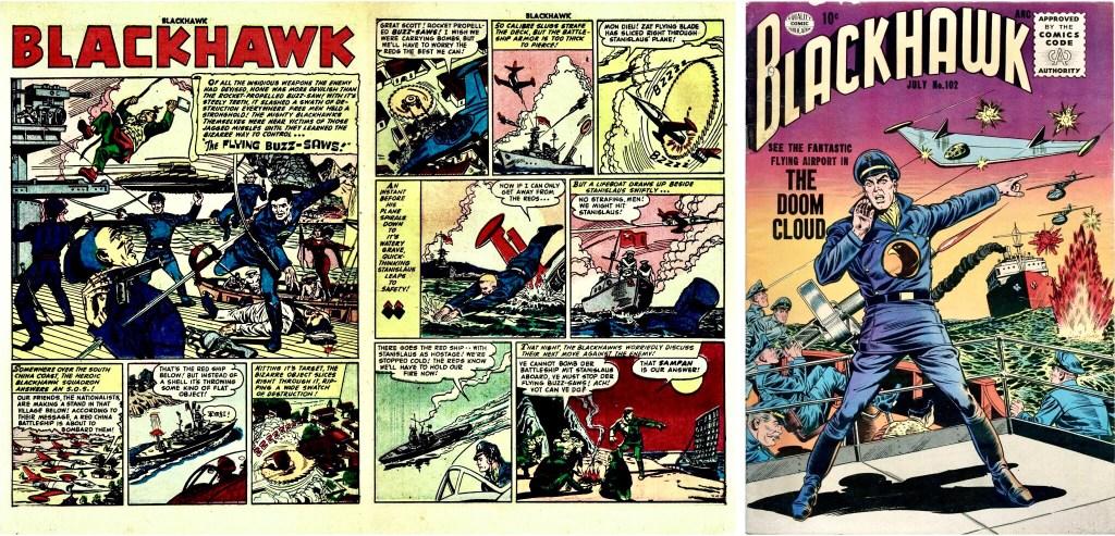 Inledande uppslag med episoden The Flying Buzz-Saws ur Blackhawk #63 och omslag till Blackhawk #102. ©Quality/Comic Magazine/Comic Favorites