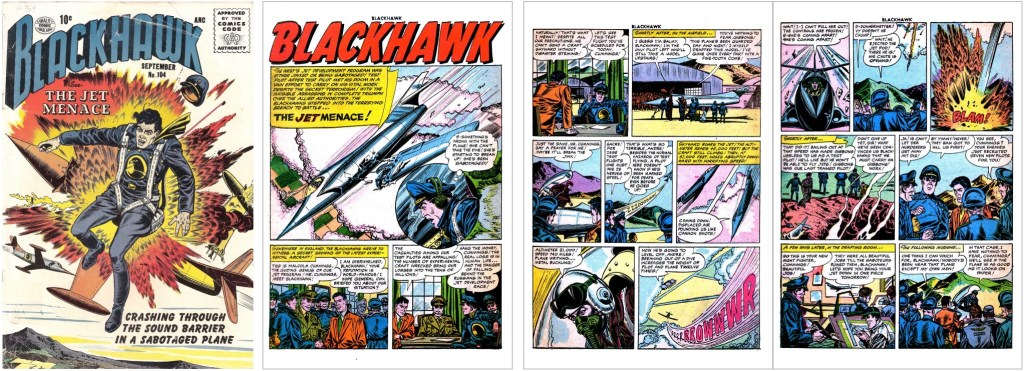 Omslag till Blackhawk #104 och inledande sidor ur episoden The Jet Menace. ©Quality/Comic Favorites