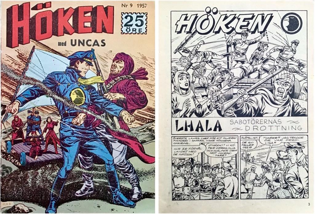 Omslag till Höken nr 9, 1957 och inledande sida ur Höken-serien. ©Formatic/EuropaPress