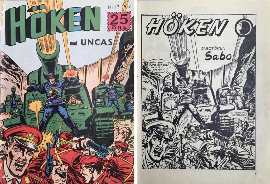 Omslag till Höken nr 17, 1957 och inledande sida ur Höken-serien. ©Formatic/EuropaPress