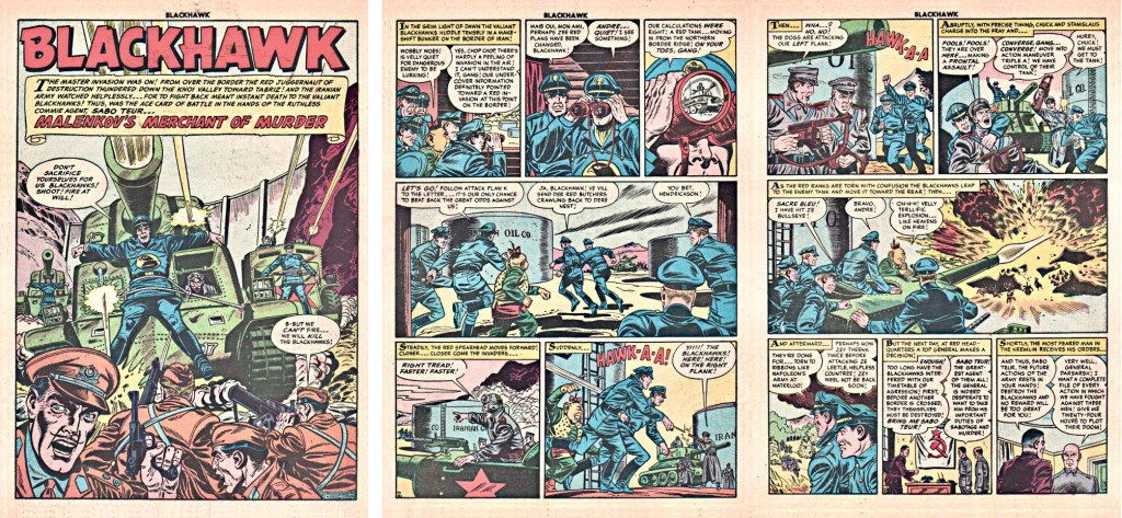 Inledande sidor med episoden Sabo Malenkov's Merchant of Murder ur Blackhawk #82 (1954). ©Quality/Comic Favorites