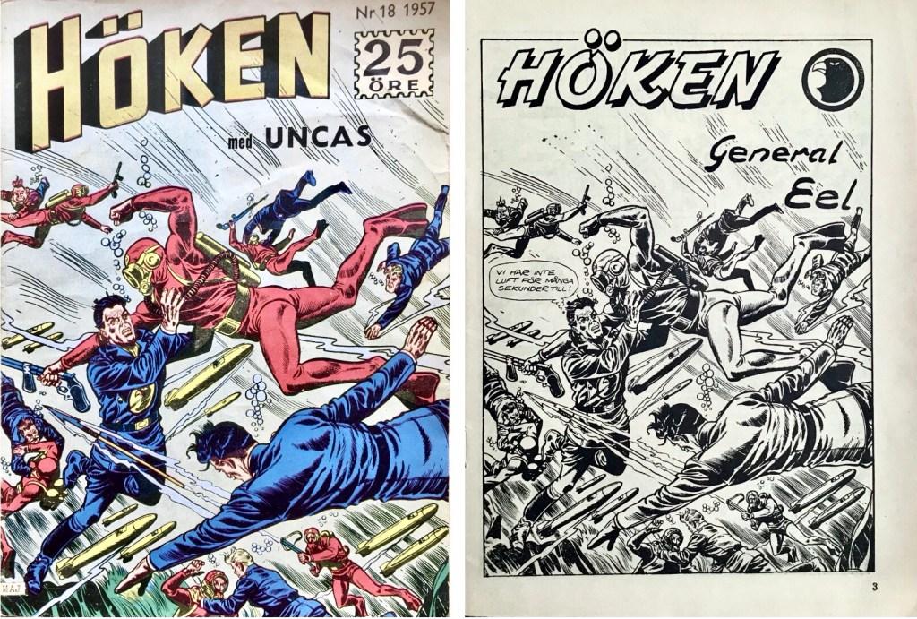 Omslag till Höken nr 18, 1957 och inledande sida ur Höken-serien. ©Formatic/EuropaPress