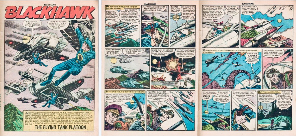 Inledande sidor med episoden The Flying Tank Platoon ur Blackhawk #106 (1956). ©Quality/Comic Favorites