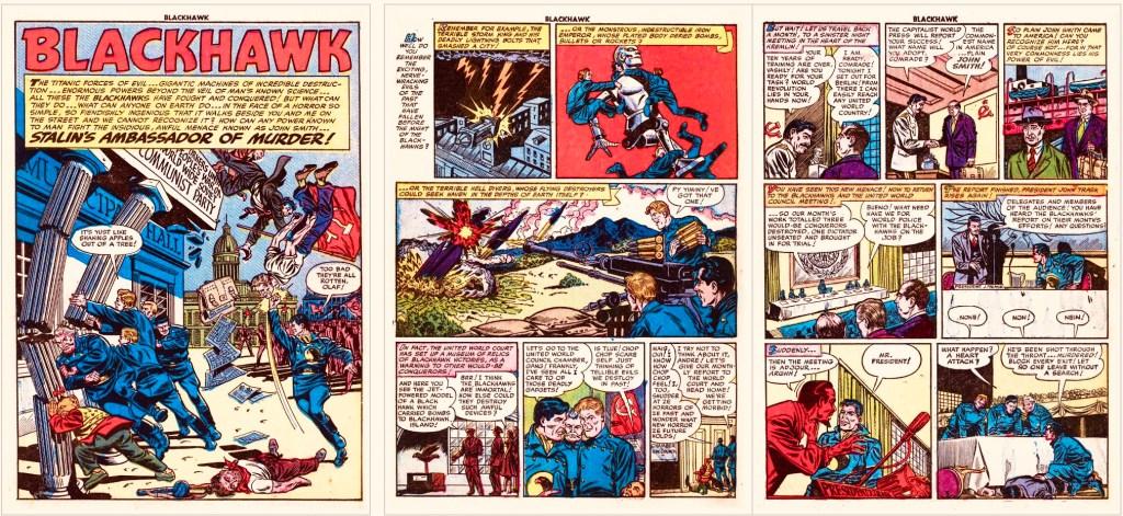 Inledande sidor med episoden Stalin's Ambassador of Murder ur Blackhawk #61 (1953). ©Quality/Comic Magazine