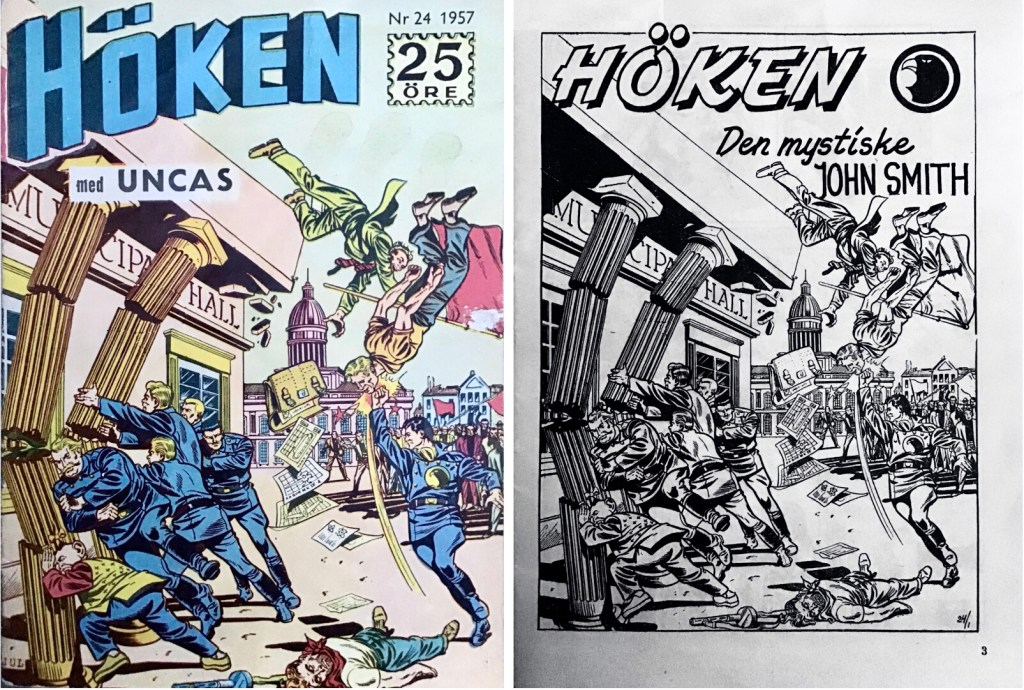 Omslag till Höken nr 24, 1957 och inledande sida ur Höken-serien. ©Formatic/EuropaPress