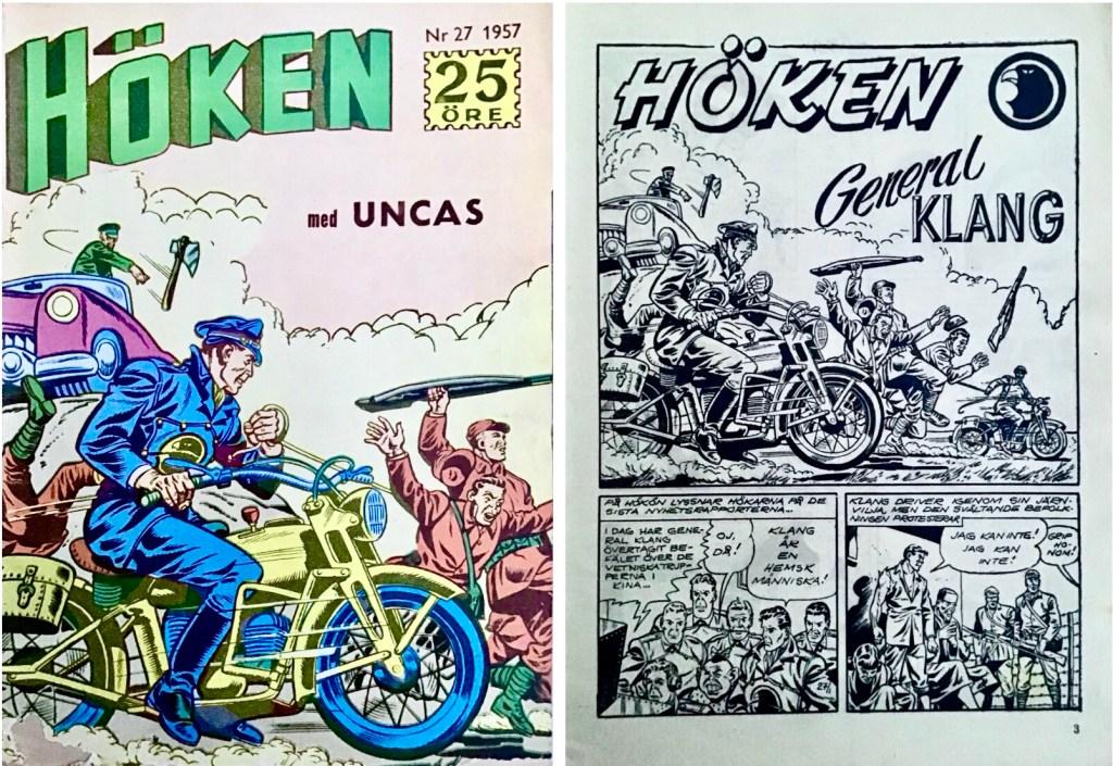 Omslag till Höken nr 27, 1957 och inledande sida ur Höken-serien. ©Formatic/EuropaPress