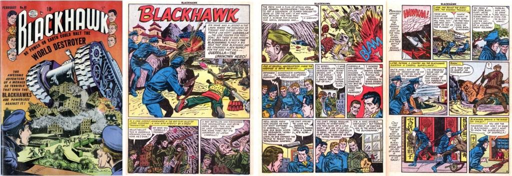 Omslag till Blackhawk #61 (1953) och inledande sidor ur episoden Guerilla, the Unknown Hero. ©Quality/Comic Magazine