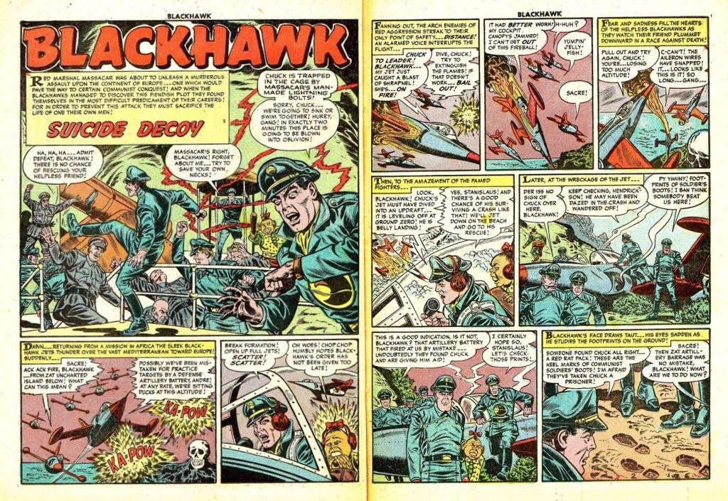 Inledande uppslag med episoden Suicide Decoy ur Blackhawk #86 (1955). ©Quality/Comic Favorites