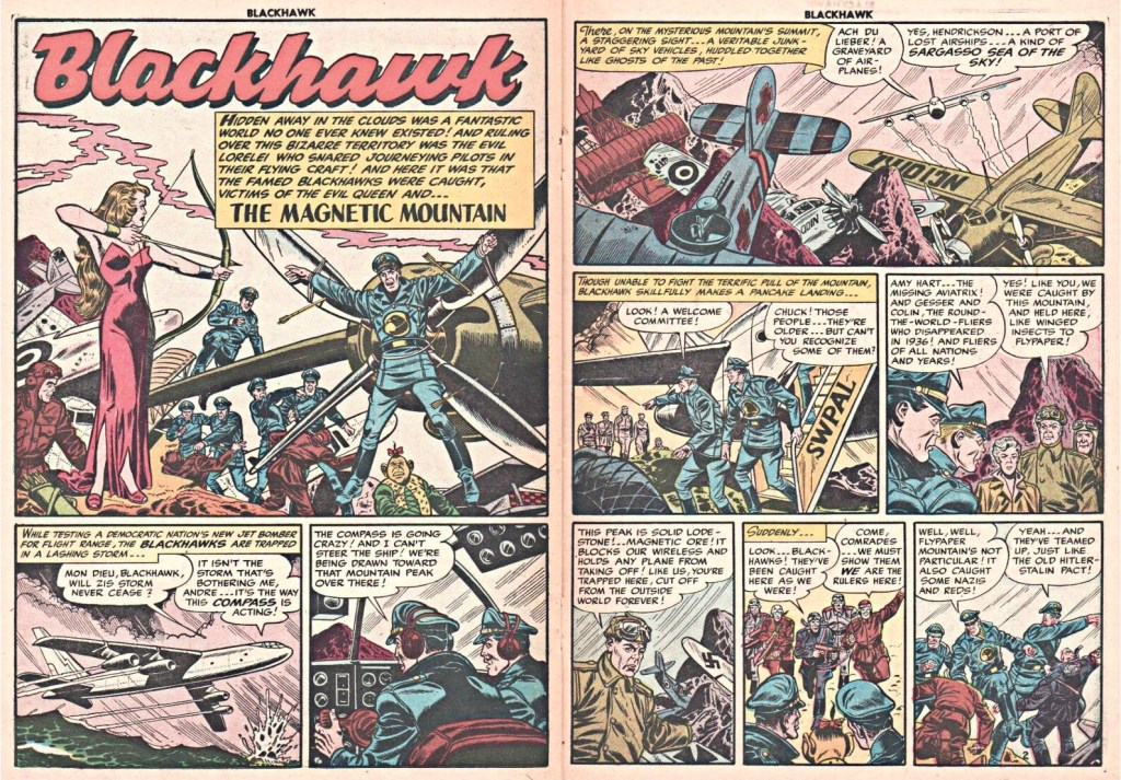 Inledande uppslag med episoden The Magnetic Mountain ur Blackhawk #83 (1954). ©Quality/Comic Favorites